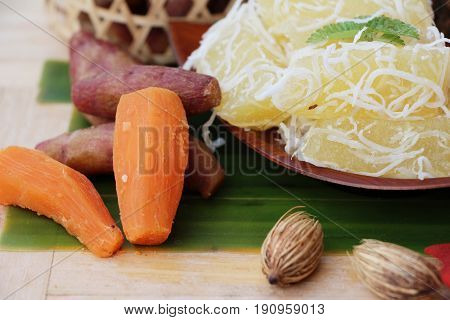 Sweet potato crushed with coconut Thai dessert