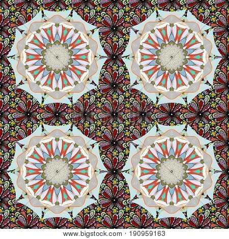 Arabic Mandala pattern on a colorful background. Colored. East Islam Indian motifs. Wedding holiday card. Vintage vector decorative ornament. Orient symmetry lace fabric. Ethnic texture.