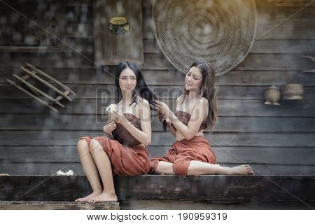 Thai traditional stylewoman wearing typical thai dressidentity culture of Thailand.