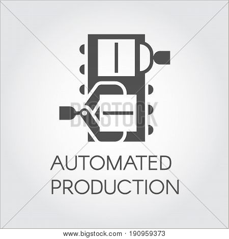 Black graphic element of grip of boxes by mechanical hands. Automated production concept. Modern equipment for factories and plants. Vector image in flat style