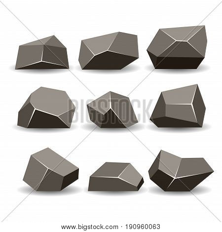 Rock stone isometric view set 3d different gray boulders with shadow flat style