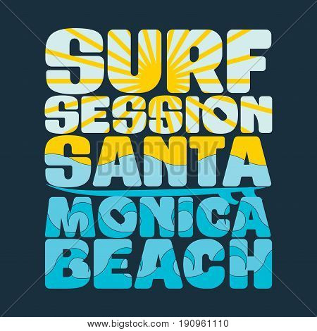 t-shirts Surfing session t-shirts santa monica water sport T-shirt inscription typography graphic design emblem