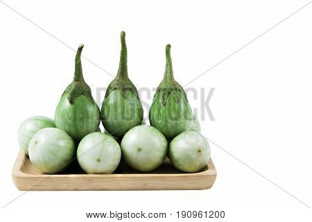 brinjal placed in a wooden plate with copy space.
