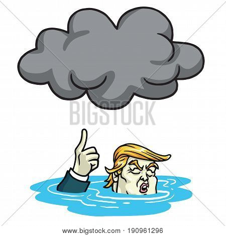 Donald Trump Under the Black Cloud Smog. Cartoon Vector Illustration. June 13, 2017