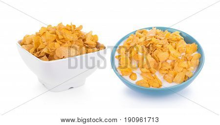 Corn flakes with milk isolated on white background