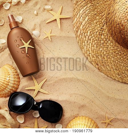 suntan cream bottle on sand beach