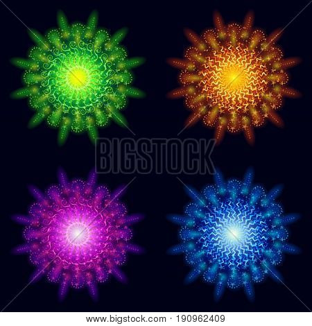 Set of Various Bright Colorful Celebratory Fireworks, Color Elements for Holiday Web Design on Dark Background. Eps10, Contains Transparencies. Vector