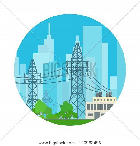 Icon High Voltage Power Lines Supplies Electricity to the City, Vector Illustration