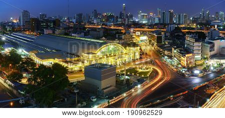BANGKOK THAILAND - JUNE 12 2017 : View of Bangkok train station or Hua Lamphong Railway Station in blue hour