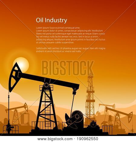 Silhouette Pumpjack or Oil Pump on a Background of Mountains at Sunset, Flyer Petroleum Industry , in the Background Working Oil Pumps and Drilling Rig, Poster Brochure Design, Vector Illustration