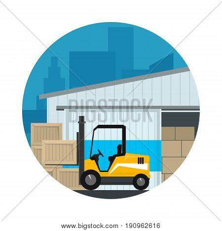Icon Warehouse Services , Warehouse with Forklift Truck on the Background of the City and Text, Transportation and Cargo Services and Storage, Vector Illustration