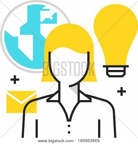 Color Box Icon, Outsource, Cloud Concept Illustration, Icon