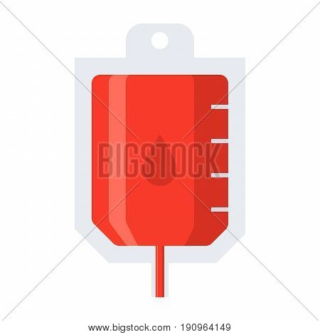 Blood transfusion concept with blood bag, vector illustration in flat style