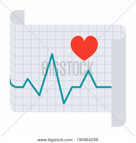 Cardiology concept with electrocardiography ECG to measure heartbeat, vector icon in flat style