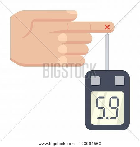 Diabetes concept with glucometer measures blood sugar level, vector illustration in flat style