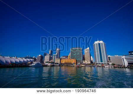 AUCKLAND, NEW ZEALAND- MAY 12, 2017: Beautiful view of the largest and most populous urban area in the country, with a panoramic view in a sunny beautiful day.
