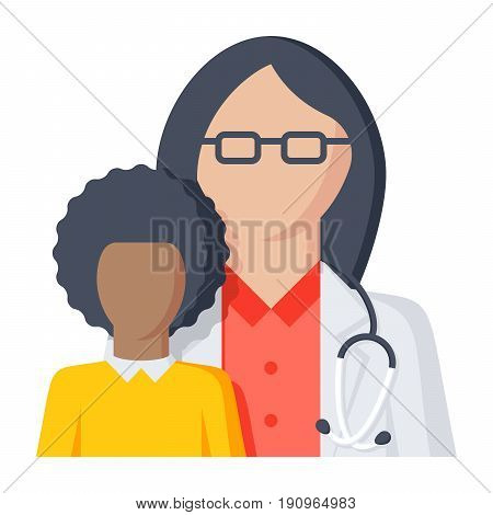Pediatrics concept with pediatrician and child, vector illustration in flat style