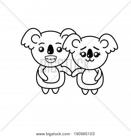 line cute couple koala wild animal with beautiful expression vector illustration