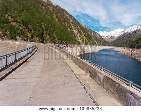 Dam with artificial lake in switzerland