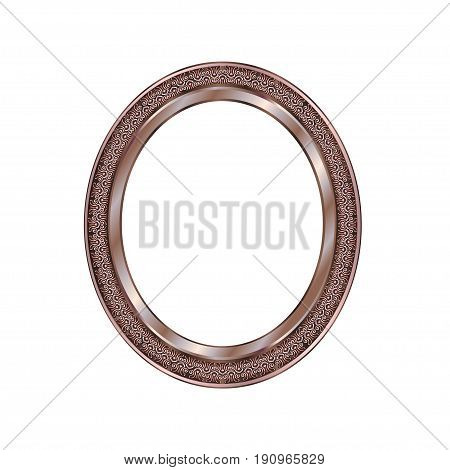 Decorative frame of a round form of bronze color with finishing on an internal circle the vector image