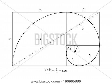 Golden section ration, perfect proportion isolated on white, vector illustration