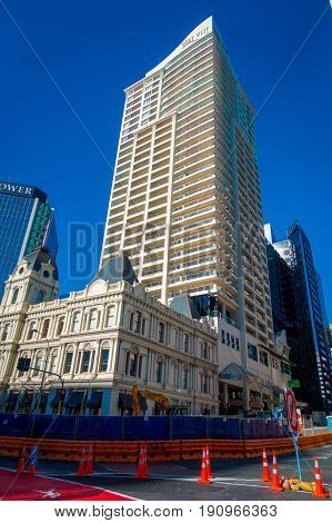 AUCKLAND, NEW ZEALAND- MAY 12, 2017: Gorgeous apartment building located in dowtown in the beautiful city of Auckland in New Zealand.