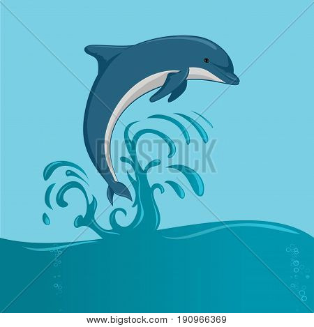 The dolphin who is jumping out of sea water on blue background, isolated. Vector illustration.