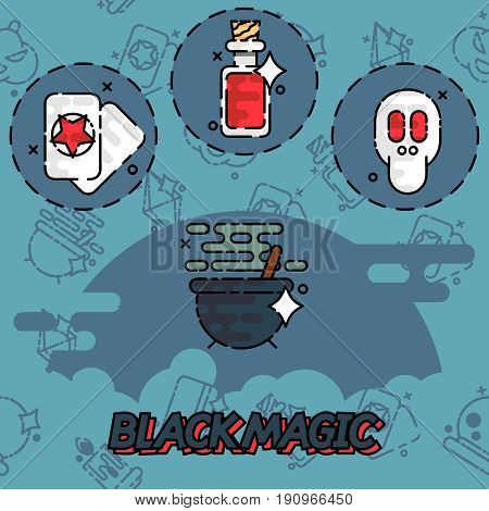 Black magic flat concept icons. Trendy Simple vector symbol. Vector illustration, EPS 10