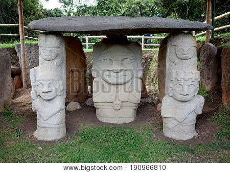 An ancient burial site guarded by statues in San Agustin archaeological park Colombia