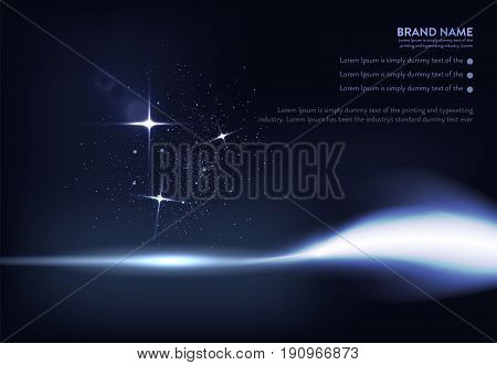 Vector illustration of dark blue banner with glowing light effect with rays and lens flares. An excellent advertising poster for holiday discounts and sales