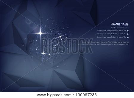 Vector illustration of dark blue banner with glowing light effect and lens flares on polygon pattern. An excellent advertising poster for holiday discounts and sales