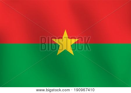 Flag of Burkina Faso a little Waving, Shading & Flag Colors separated layers - Vector Illustration