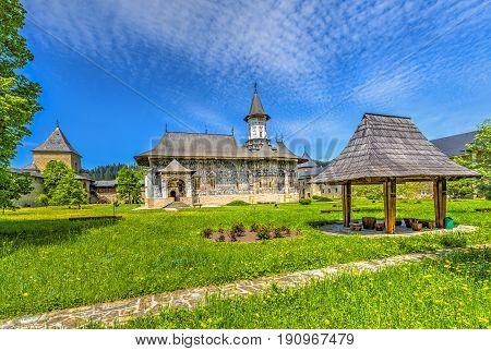 Sucevita orthodox painted church monastery Suceava landmark Moldavia Bucovina Romania
