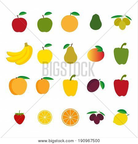 Set of fruit and vegetables colorful vector illustration