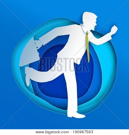 Business man running away. Paper art cut style. Vector illustration graphic design. Manager with case and tie go on.