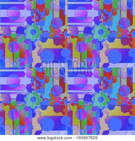 Abstract geometric background. Regular intricate pattern with gear wheals and circles multicolored.