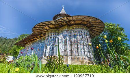 Voronet orthodox painted church monastery Moldavia Bucovina Romania