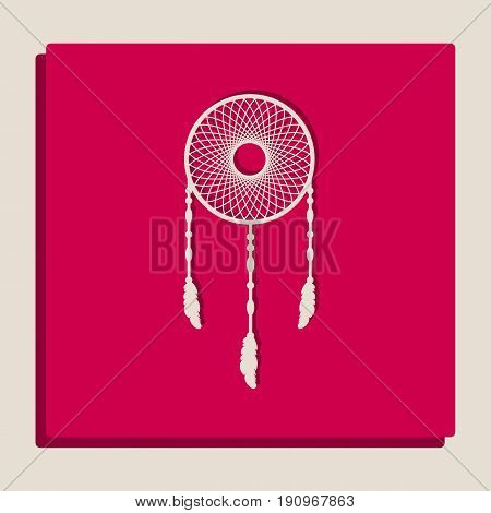 Dream catcher sign. Vector. Grayscale version of Popart-style icon.