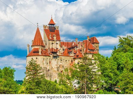 Medieval Bran castle Brasov landmark Transylvania Romania.