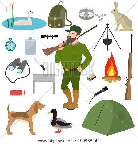Vector illustration of a cartoon hunter, set hunting equipment and wildfowl. Isolated on white background. Flat style. Animals for hunting, ammunition and accessories.