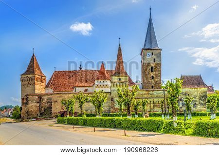 Evangelical fortified church in Mosna,  Transylvania, Romania.