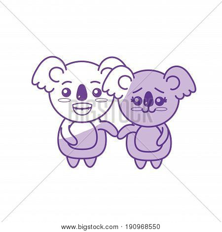 silhouette cute couple koala wild animal with beautiful expression vector illustration