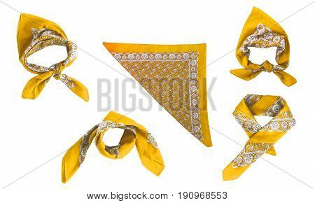 The Yellow kerchief-bandana with a pattern isolated.