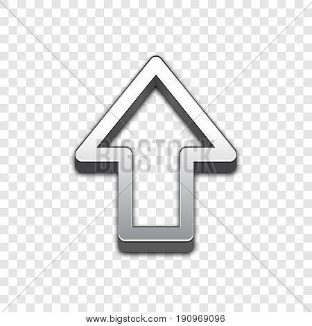 Arrow trendy 3d style vector icon. Raised symbol illustration. Eps 10. Arrow symbol vector icon for your web site design, internet, graphic interface, business.