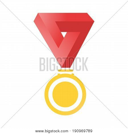 Medals Gold On A Red Ribbon Isolated On White Background