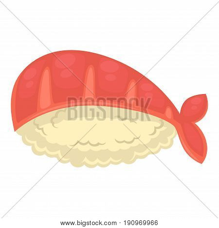Tasty sushi with big peeled royal shrimp that lays over rice ball isolated on white background. Exotic oriental Chinese and Japanese delicious restaurant seafood cartoon vector illustration.