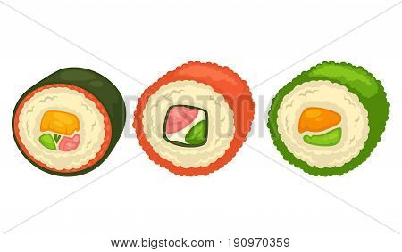 Delicious sushi rolls with luxury salmon, white sauce, sea weed, rice and fresh greens isolated cartoon vector illustration on white background. Oriental Chinese and Japanese restaurant seafood.