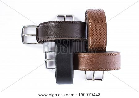 still life man belt white back ground