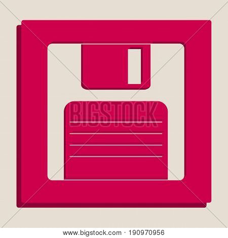 Floppy disk sign. Vector. Grayscale version of Popart-style icon.