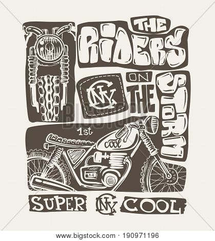 Cool motorcycle t-shirt print design, vector illustration.